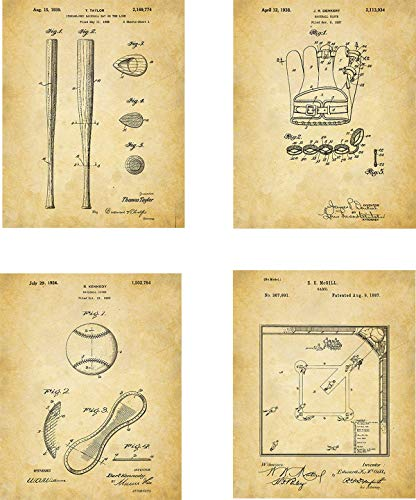 Baseball Patent Wall Art Prints - set of Four (8x10) Unframed - wall art decor for baseball fans