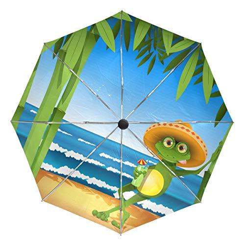 Wamika Paraguas de Viaje con diseño de Rana Sobre mar arenoso, automático,...