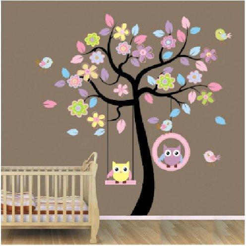 Rainbow Fox Chambre stickers muraux mur de l'usine des autocollants de rose bleu arbre de hibou balancer le commerce des enfants