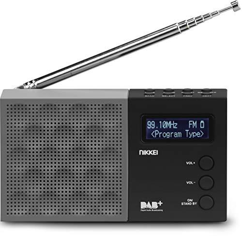 Nikkei NDB30BK - Radio DAB + Portatile con PLL FM - USB, Jack da 3,5 mm, Radiosveglia, Display LCD, Batteria - Nero   Grigio