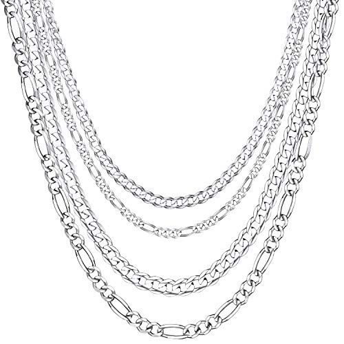 ChainsHouse Collar Plata de Ley para Hombres Mujeres, 3mm 5mm Ancho Collares Cubano/Figaro, Collar Personalizable