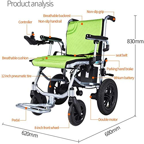 GYPPG Electric Wheelchairs Medical Rehab Chair for Seniors Lightweight Foldable Portable Compact Travel Chair Power or Manual for Disabled Elderly-Single_Control