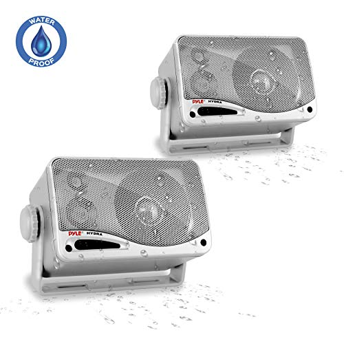"3-Way Waterproof Marine Box Speakers - 3.5"" 200 Watt Dual Indoor Outdoor Speaker System - Weatherproof/Waterproof Outdoor Speaker - Home, Boat, Pool, Patio Indoor Outdoor Use - Pyle PLMR24S (Silver)"