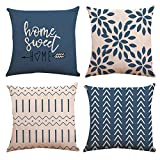 YC-KITCHEN Pillow Covers 18x18 Set of 4, Modern Sofa Throw Pillow Cover, Decorative Outdoor Linen Fabric Pillow Case for Couch Bed Car 45x45cm (Light Blue, 18x18,Set of 4)