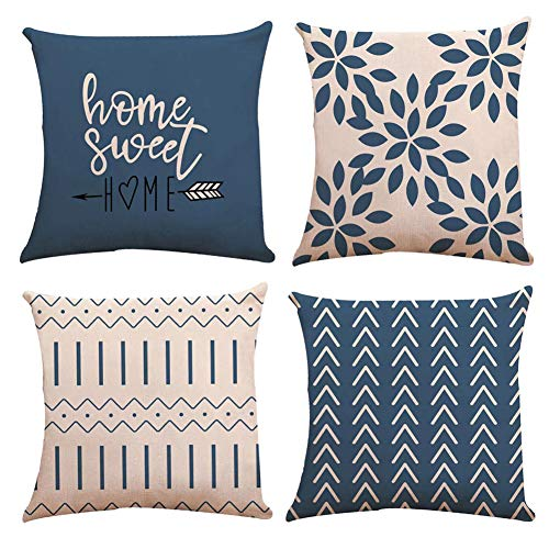 YCOLL Pillow Covers 18x18 Set of 4, Modern Sofa Throw Pillow Cover, Decorative Outdoor Linen Fabric Pillow Case for Couch Bed Car 45x45cm (Light Blue, 18x18,Set of 4)
