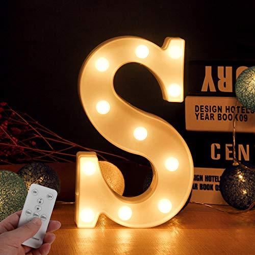 LED warmweiß leuchtenden Brief Lichter batteriebetriebene Fernbedienung LED Leuchten können als,Werbetafeln,Geschäfte,Bars,Häuser,Beleuchtung Lichter verwendet werden(Buchstabe S)