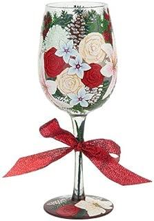 Santa Barbara Design Studio GLS11-5529F Lolita Love My Wine Hand Painted Glass, Holiday Bouquet