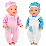 K.T.Fancy 2 Set 16-18 Inch Doll Clothes Outfits Casual Wear Pjs for 43cm New Born Baby Doll Clothes, 15 Inch Baby Doll Clothes