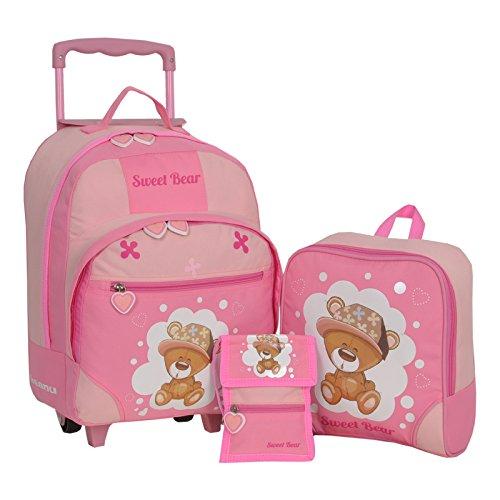 KEANU Keanu Kindertrolley 3er Set Reisegepäck stabil, höhenverstellbarem Griff, Reißverschlussfach, Reisekoffer Rucksack Brustbeutel (Pink - Sweet Bear)