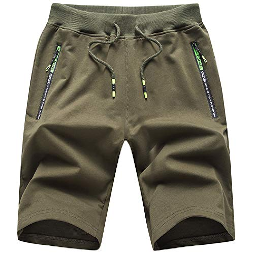 JustSun Kurze Hosen Herren Shorts Sommer Kurze Jogginghose Baumwolle Sweat Sport Shorts mit Reißverschluss Grün L