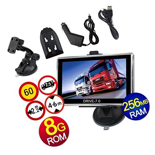 7 Zoll GPS Navi, Navigationssystem, Navigationsgerät, für LKW Truck mit Rastplatzsuche, 24 V, über 50 Länder Europa. Neuste Karten sowie Radarwarner, Erweiterbarer Speicher, Fahrspurassistent