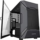 MUSETEX MESH Micro ATX Tower Case with 2 PCS × USB 3.0 Ports Magnetic Design Opening Tempered Glass Door Swing Type Side Panel & Mesh Front Panel Gaming PC Case(MK7-G)