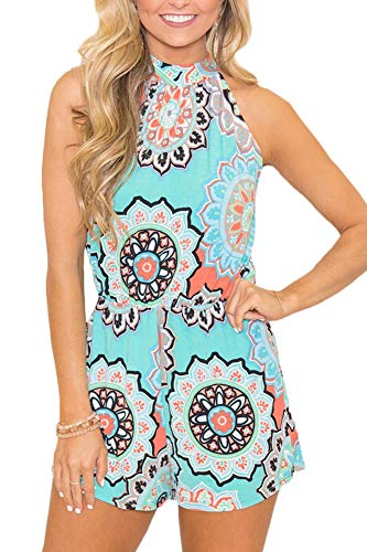 Spadehill Womens Cotton Casual Strap Sleeveless Romper Boho Summer Floral Print Beach Short Jumpsuit Light Blue M