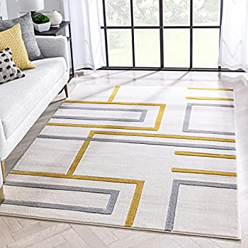 Mid-century modern rug with yellow and grey pipes