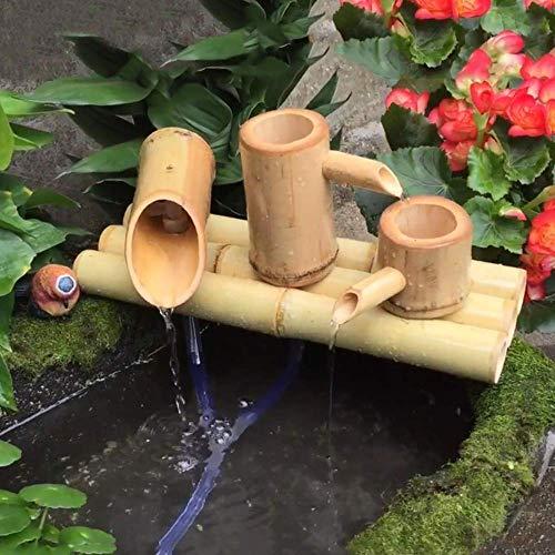 HYLX Décoration de Paysage, taie d'oreiller Fontaine d'eau de Jardin en Bambou Fontaine en Bambou Zen avec Pompe, Fontaine Polyvalente intérieure/extérieure, Longueur 30cm