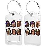 BCLYPBO Etiquetas de equipaje de cuero de la muchacha africana linda, etiquetas de equipaje, etiquetas de la maleta de cuero de la PU con el lazo del acero inoxidable 2 PC fijado