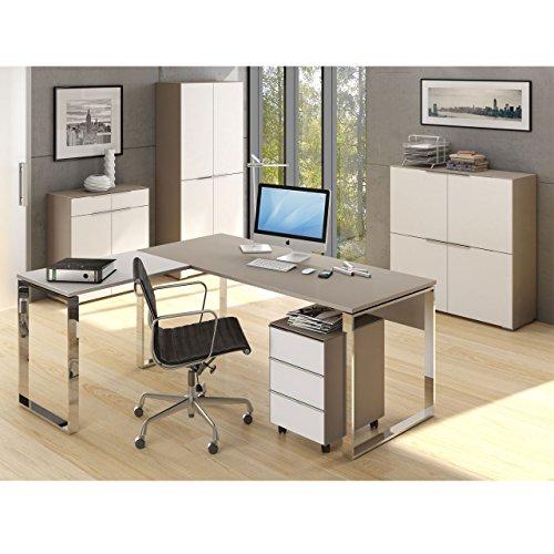lisel-de Maja Büromöbel Komplettset Komplettes Arbeitszimmer YAS in Glas Sand matt/Weißglas 6-teilig Modell!!!