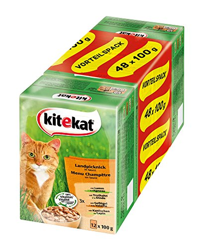 Kitekat Katzenfutter Landpicknick in Soße, 48 Beutel (48 x 100 g)