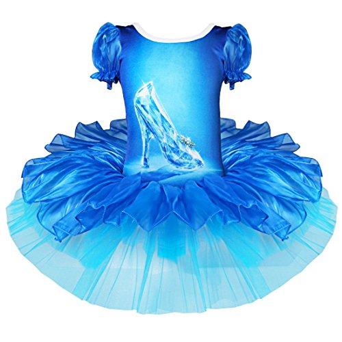 YiZYiF Déguisement Enfant Cendrillon Shoes, Justaucorps de Danse tutu Bébé 2-10 Ans (M, Bleu)