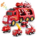 TEMI Fire Carrier Truck Transport Car Play Vehicles - 5 in 1 Friction Power Set w/ Real Siren Sound & Bright Flashing Light, Push and Go Play Vehicles Toys w/ Mini Cartoon Bus/Taxi/Airplane by ShengTian