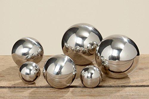 B&B Gartenkugel Set 6-teilig 2,5cm - 5cm Edelstahl Silber poliert Dekokugel