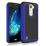 LG Treasure LTE Case, Jeylly [Shock Proof] [Blue] Dual Layer Defender Protective Scratch Absorbing Hybrid Rubber Plastic Impact Defender Rugged Hard Case Cover Shield for LG Treasure LTE LG K7