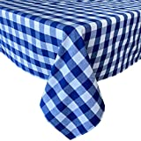 Newbridge Buffalo Check Rustic Indoor/Outdoor Cotton Tablecloth Cottage Style Gingham Check Pattern Tablecloth - 70 Round, Blue