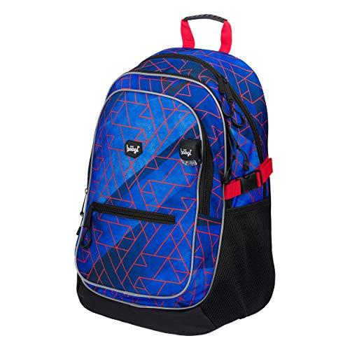 Baagl Schulrucksack für Jungen - Schulranzen für Kinder mit ergonomisch geformter Rücken, Brustgurt und reflektierende Elemente (Trigo)
