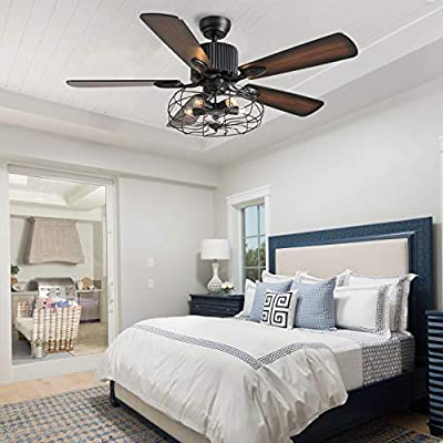 CROSSIO 52 Inches Industrial Crystal Ceiling Fan with Lights and Remote Control, Vintage Caged Chandelier Fan with 5 Reversible Wood Blades for Living Room Bedroom Kitchen Island