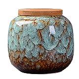 Ceramic Loose Tea Tin Tea Storage Tea Caddy Tea Canister Tea Storage Container Tins Jar with Airtight Lid (Light blue)
