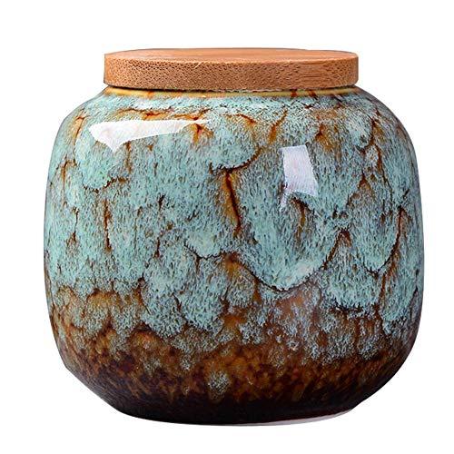 Keramik-Lebensmittel-Vorratsdose luftdicht mit Deckel aus natürlichem Bambus, Teedose, Aufbewahrungsdose für Kaffee, Tee, Gewürze und Nüsse, keramik, hellblau, Einheitsgröße