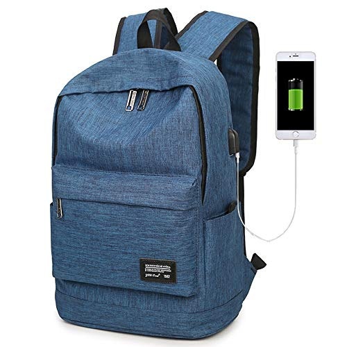 Pomety Anti-Theft Backpack, Business Laptop Backpack with USB Charging Port and Earphone Port with Lock Slim Water Resistant Bag Daypack Fits Computer Notebook Rucksack for Work (Color : Blue)