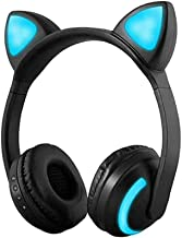 Treesine Wireless Bluetooth Cat Ear Headphones with Mic 7 Colors LED Light Flashing Glowing On-Ear Stereo Gaming Headset C...