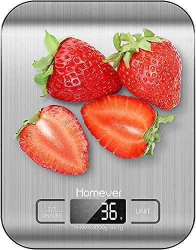 Bilancia da Cucina Digitale, Bilancia Cucina alta precisione fino a 1 g (peso massimo 5 kg), Funzione Tare, Display LCD, acciaio inossidabile