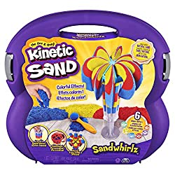 DROP AND SQUISH: With red, yellow and blue Kinetic Sand included, drop sand into 1 of 2 extruder tubes and gently squish it down with the plunger. Layer until you're ready to make your sand transform. MIX AND MATCH TOOLS: The Sandwhirlz Playset has o...