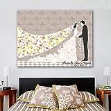 FANGYAO Impresiones de huellas dactilares personalizado lona de pintura - la novia y la escoba (incluye 12 colores de tinta) , 40*60cm