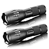 Military Grade 2000 Lumen 5 Mode LED Tactical Flashlight Torch for Hurricane Camping Biking Hiking Home Emergency,2 Pack