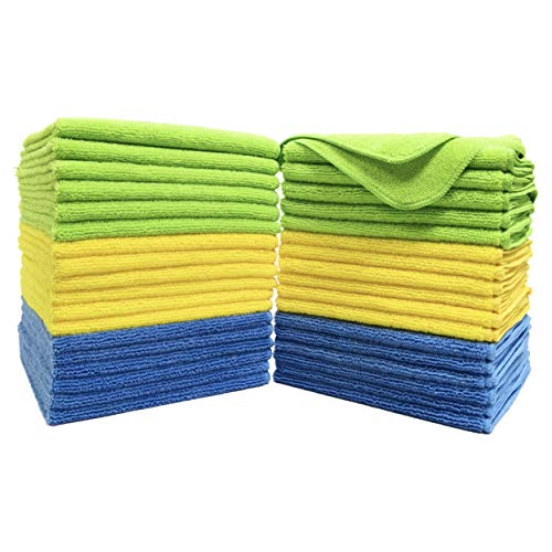 Polyte Premium Microfiber Cleaning Towel,16x16 in (36 Pack, Blue,Green,Yellow)