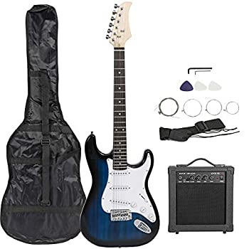 Smartxchoices 39  Electric Guitar Full Size Blue Beginner Guitar with 10W Amp Case and Accessories Pack for Starter