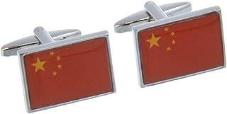زوج من أزرار الأكمام بعلم جمهورية الصين الناس من MRCUFF في صندوق هدايا وقطعة قماش تلميع