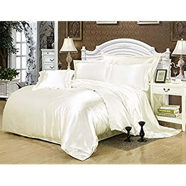 Sona bedding solutionsLuxurious Ultra Soft Silky Satin 4-Piece Bed Sheet Set Ivory, Cal-King