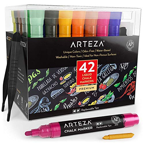 ARTEZA Liquid Chalk Markers, Water-Based 42-Color Pack with 50 Chalkboard Labels and Replaceable Tips for Kids, Adults, Bistros & Restaurants