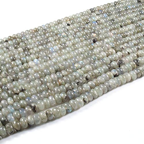 Beads Ok, DIY, Labradorita, Claro Gris, 6x4mm Abalorio Cuenta Mostacilla o Chaquira De Piedra Semipreciosa Rondel Llano, Cerca de los 39cm un Tira. (Labradorite, Light Grey, Plain Rondelle Bead)