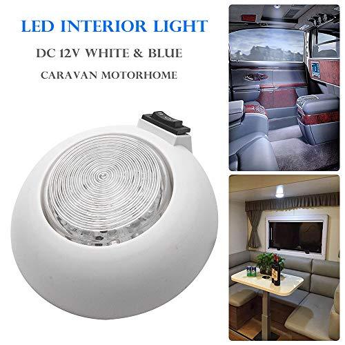 Lampe de camping - Spot LED ultra fin pour intérieur de camping-car blanc et bleu avec interrupteur marche/arrêt - Pour fourgonnette, maison, bateau, 12 V CC