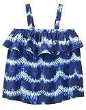 Gymboree Girls' Little Ruffle Tank Top, Blue Shibori, S