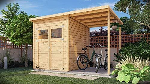 Alpholz Gerätehaus Mollie Plus aus Fichten-Holz | Gartenhaus mit 14mm Wandstärke | Holzhaus inklusive Montagematerial | Geräteschuppen Größe: 340 x 199 cm | Pultdach
