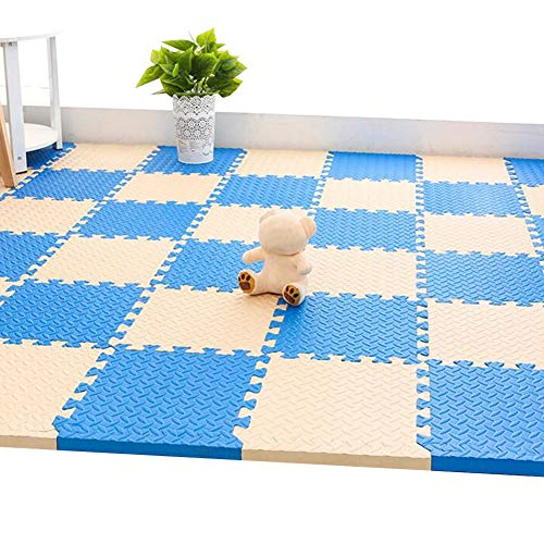WUZMING-Tapis Puzzle En Mousse Tuiles Imbriquées Épaissir Antidérapant Facile À Nettoyer Tapis De Protection De Sol Utilisé for Salon Studio EVA (Color : K, Size : 60x60x2.5cm-9pcs)