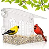 Window Bird Feeder - Newest 2021 Model - Removable Feed Tray - Drains Water - See Wild Birds Like Finches, Cardinals and Chickadees