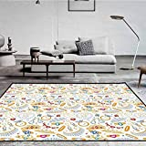Pearls Decor Collection Polyester Arti Area Rug Indoor and Outdoor Pattern with Jewelry Accessories Diamond Rings Tiara Earring Necklace Stones Image White Yellow 5 x 7 ft