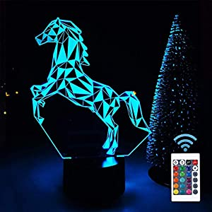 Horse Gifts for Girl, FULLOSUN 3D Horse Night Light with 16 Color Changing Remote Control + Dimmable +Flash, Baby Nursery Gifts for Kids Room Home Decor Xmas Birthday